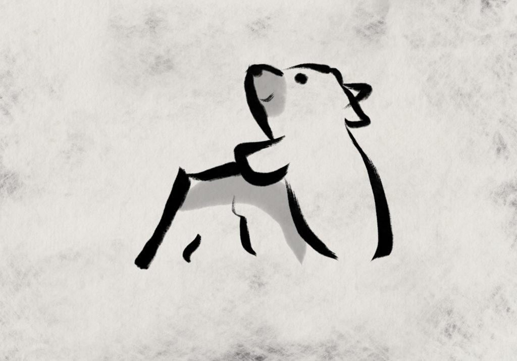 エボシ岩の熊。手描き。